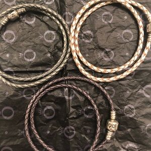 3 Authentic Pandora double leather bracelets